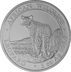 Somalia Leopard African Wildlife 1 oz Silver - 2018