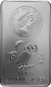 Niue Athenian Owl Coin Bar 1kg Silver - 2020