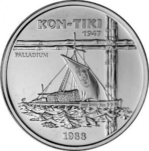 50 Tala Samoa Ship 'Kon-Tiki' 1oz Palladium 1990