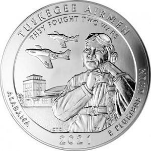 America the Beautiful - Alabama Tuskegee Airmen 5oz Silver - 2021