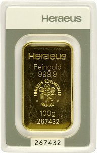 Gold Bar 100g - Heraeus