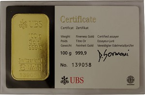 Gold Bar 100g - Various Manufacturers