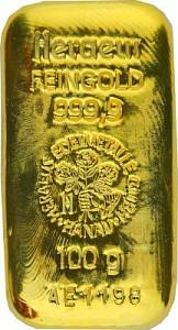 Gold Bar 100g - Heraeus, Cast