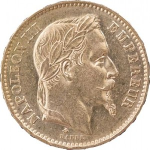 20 French Francs Napoleon III 5,81g Gold