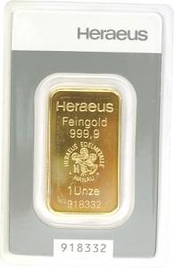 Gold Bar 1oz - Heraeus Kinebar