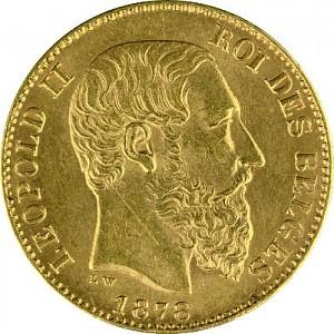20 Belgian Francs Leopold II 5,81g Gold
