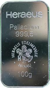 Palladium Bar 100g (Standard Taxation)